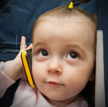 baby with smart phone